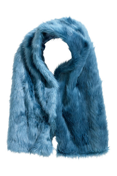 Faux fur scarf - Blue - Ladies | H&M CN
