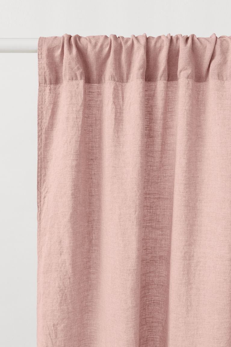 2-pack linen curtain lengths - Powder pink - Home All | H&M CN