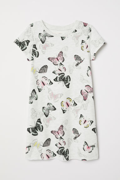 Jacquard-knit dress - Light grey/Butterflies - Kids | H&M GB
