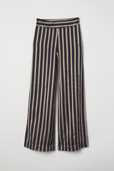 Striped trousers - Dark blue/Striped - Ladies | H&M