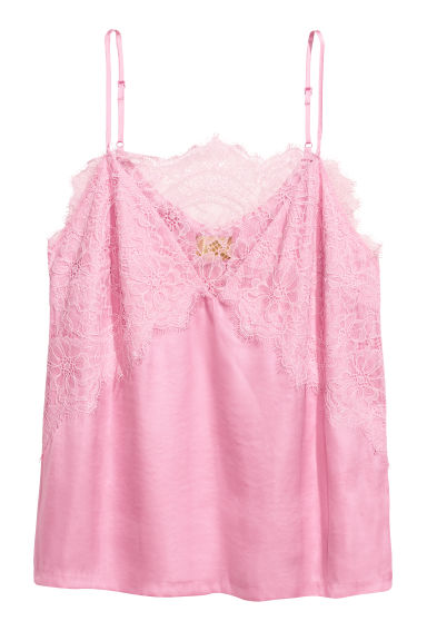 Satin strappy top with lace - Light pink - Ladies | H&M