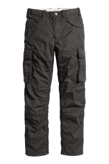 Lined cargo trousers - Black -  | H&M