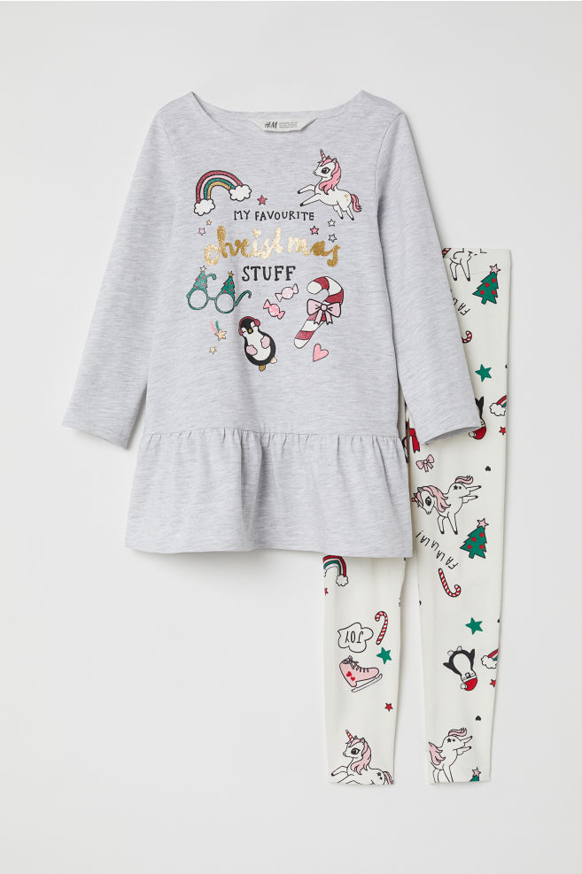 21a503745eab7 Dress and leggings - Grey marl/Christmas - | H&M ...