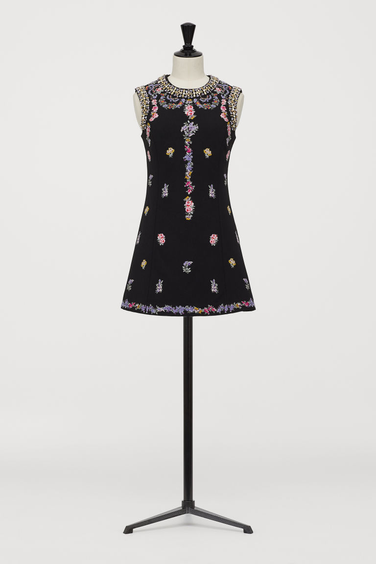Dress with embroidery - Black - Ladies | H&M GB