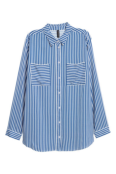 Viscose shirt - Blue/White striped -  | H&M