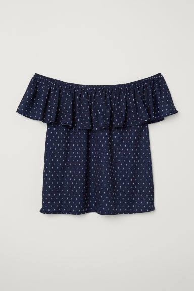 Short-sleeved top - Dark blue/Patterned - Ladies | H&M