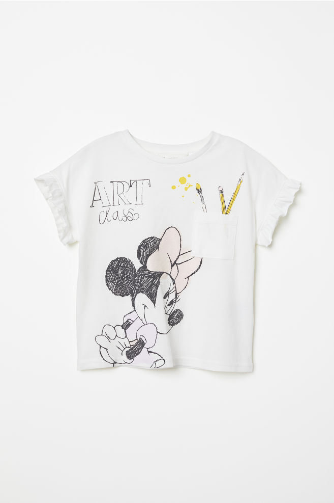 b78aca5b7 Glitter-print T-shirt - White/Minnie Mouse - Kids   H&M US