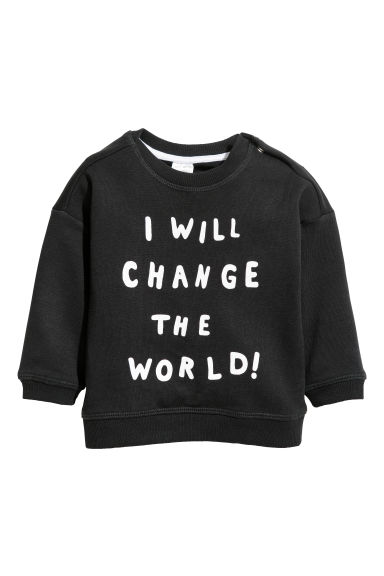 Bluză de molton - Negru/I will change the world -  | H&M RO
