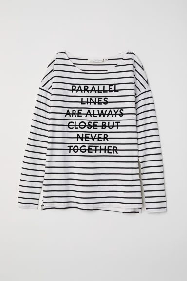 Striped top with a text motif - White/Parallel Lines - Ladies | H&M