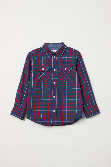 Cotton shirt - Dark blue/Red checked - Kids | H&M CN