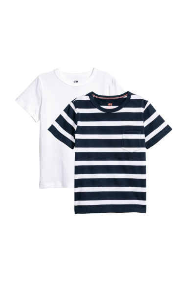 2-pack T-shirts - Dark blue/White striped - Kids | H&M