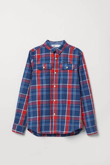 Cotton shirt - Blue/Red checked - Kids | H&M