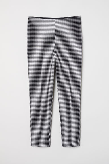 Pattern-weave trousers - Black/White checked -  | H&M