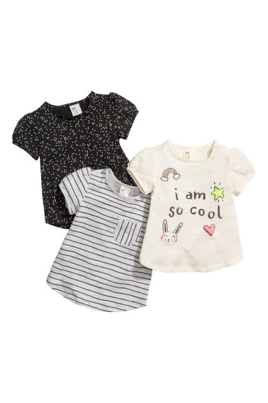 3-pack jersey tops - Natural white/Striped - Kids | H&M