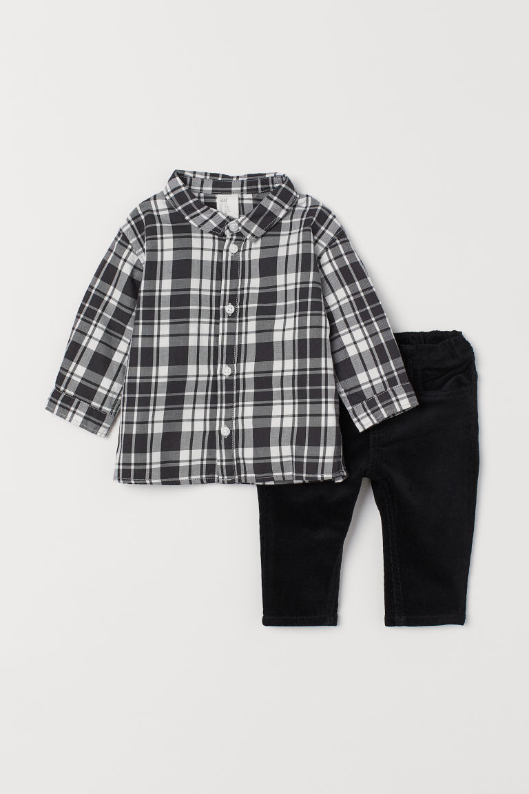 Shirt and Corduroy Pants - Black/white plaid -  | H&M US