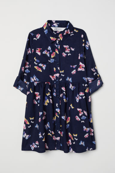 Shirt dress - Dark blue/Butterflies -  | H&M CN