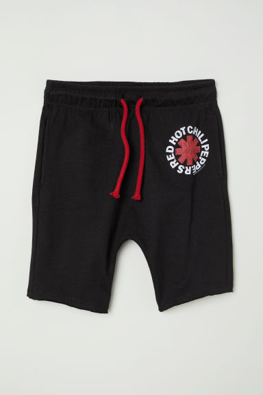 Printed jersey shorts - Black/Red Hot Chili Peppers - Kids | H&M