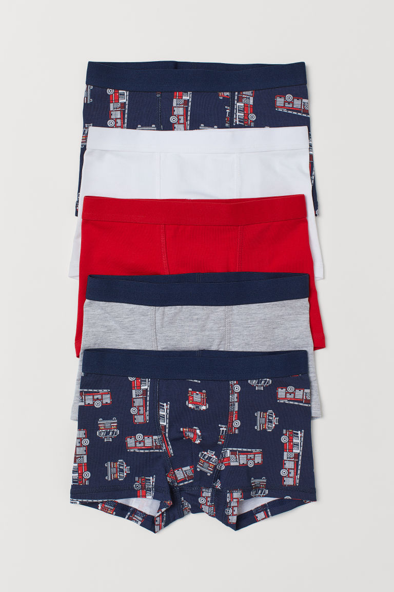5-pack boxer shorts - Dark blue/Fire engines - Kids | H&M