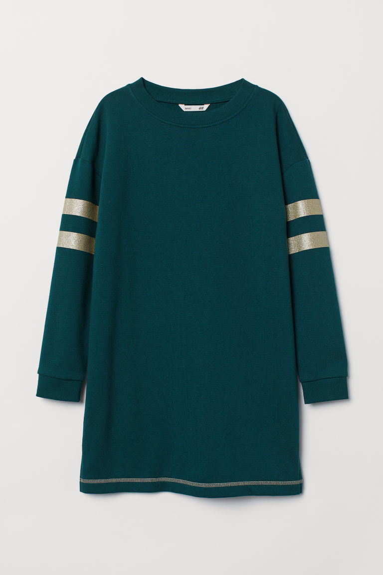 Sweatshirt dress - Dark green - Kids | H&M CN