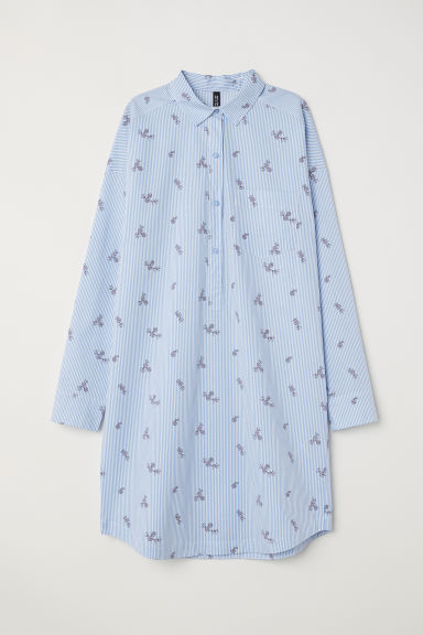 Short shirt dress - Light blue/Striped - Ladies | H&M CN