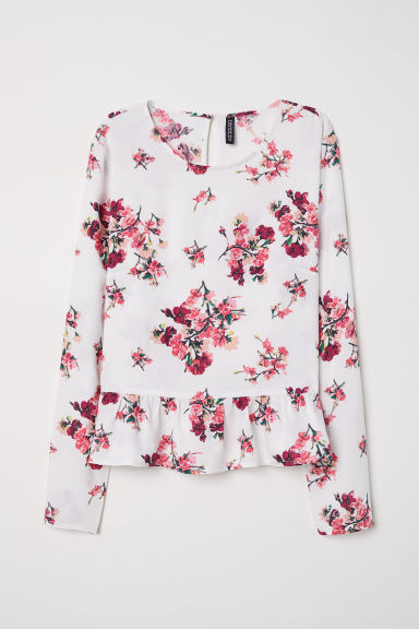 Blouse with a flounced hem - White/Floral - Ladies | H&M