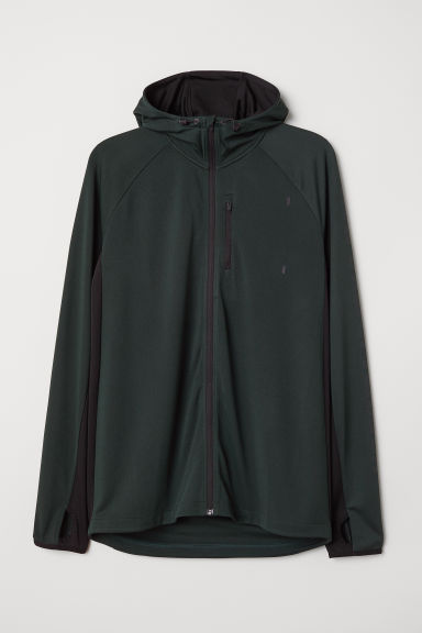 Hooded running jacket - Dark green - Men | H&M CN