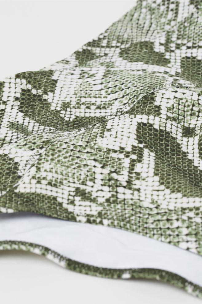 74b00309f9dd1 ... Bikini Bottoms High Waist - Dark green/snakeskin-patterned - Ladies |  H&M US