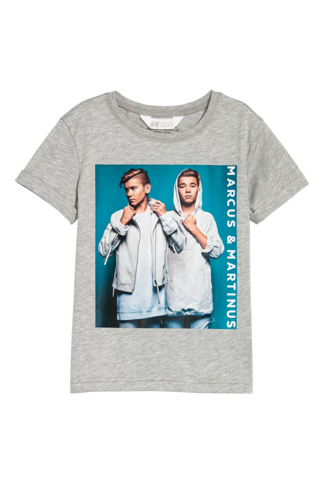 T Shirt Mit Druck Graumeliertmarcus Martinus Kids Hm At