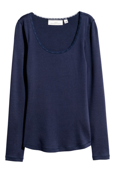 Jersey top - Dark blue -  | H&M CN