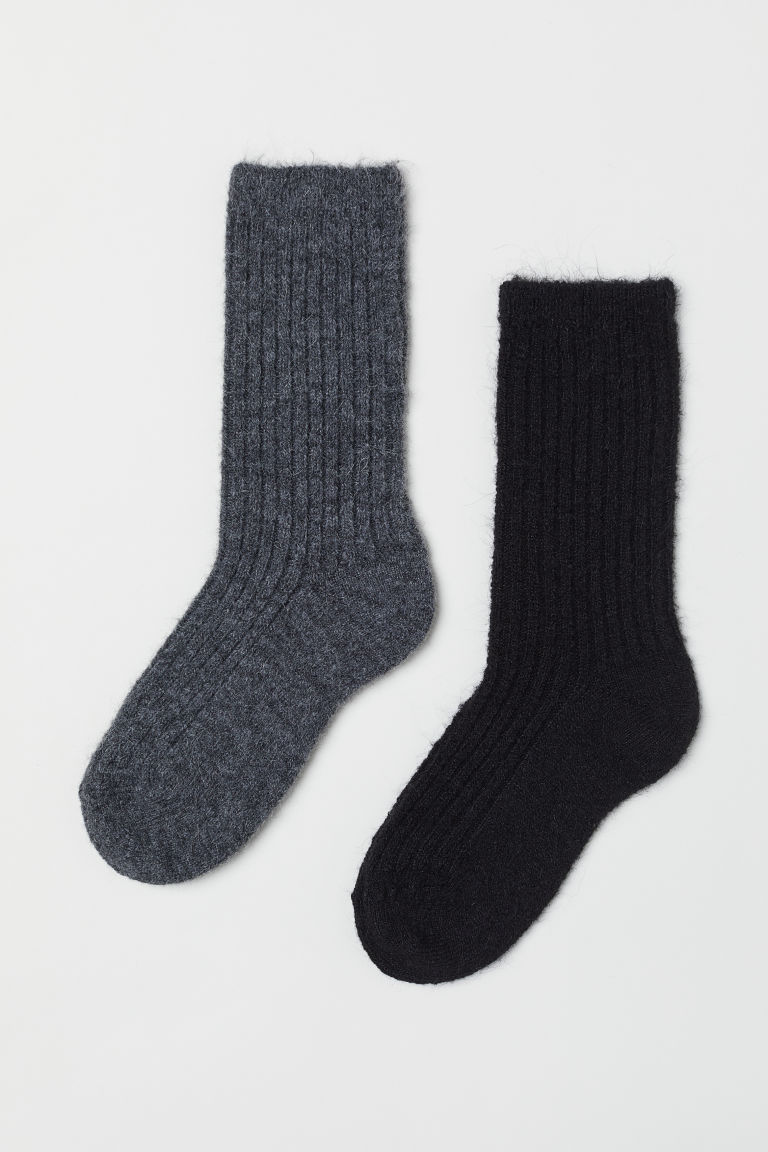 2-pack mohair-blend socks - Dark grey/Black - Ladies | H&M CN