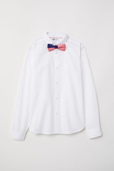 Shirt with Tie/Bow Tie - White/flag-motif bow tie - Kids | H&M CA