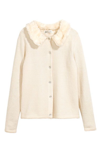 Cardigan with faux fur collar - Natural white - Kids | H&M