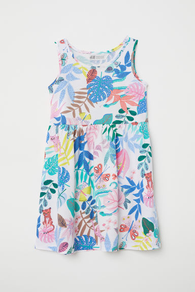 Sleeveless jersey dress - White/Botanical - Kids | H&M