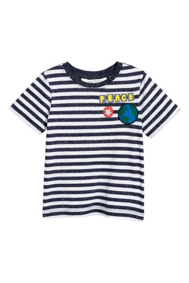Printed T-shirt - Dark blue/White striped - Kids | H&M