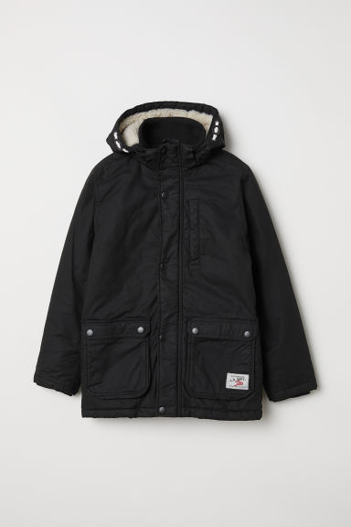 Padded parka with a hood - Black - Kids | H&M