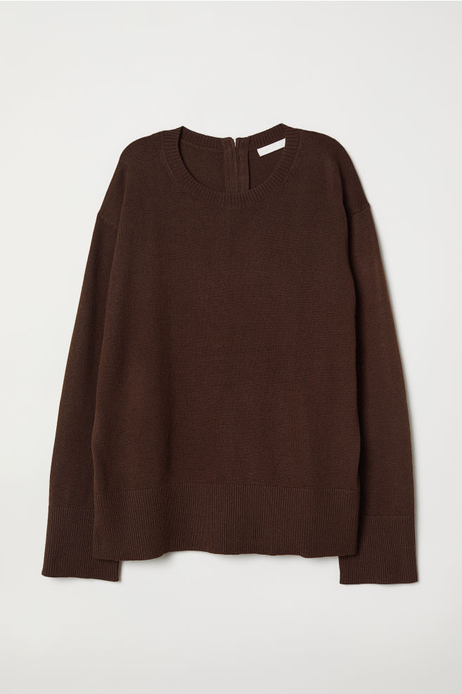 65f7797b Strikket genser - Mørk brun - DAME | H&M ...