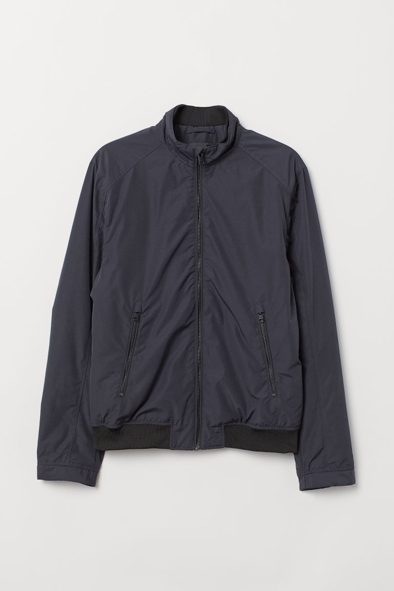 Jacket with a stand-up collar - Dark blue - Men | H&M CN