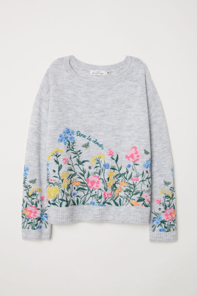 Knitted jumper with embroidery - Light grey - Ladies | H&M