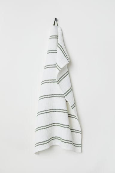 Waffled tea towel - Natural white/Striped - Home All | H&M CN