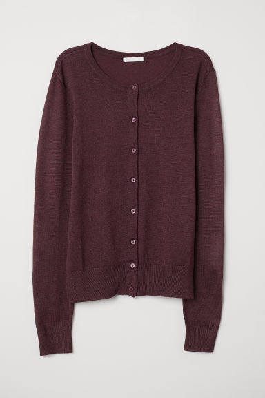 Fine-knit cardigan - Burgundy - Ladies | H&M