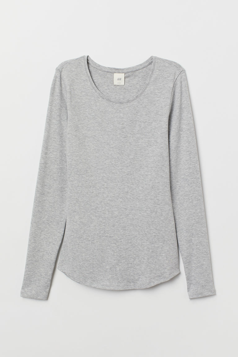 Long-sleeved jersey top - Light grey marl - Ladies | H&M CN