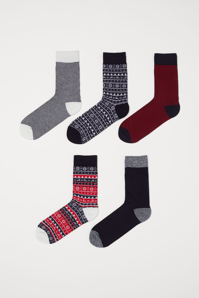 5-pack Socks - Dark blue/red patterned -  | H&M US