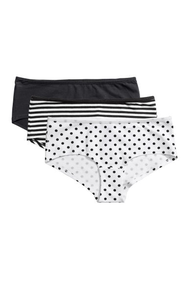 3-pack cotton hipster briefs - Black/White striped -  | H&M
