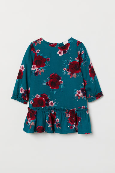 Flounced twill dress - Dark turquoise/Floral - Kids | H&M
