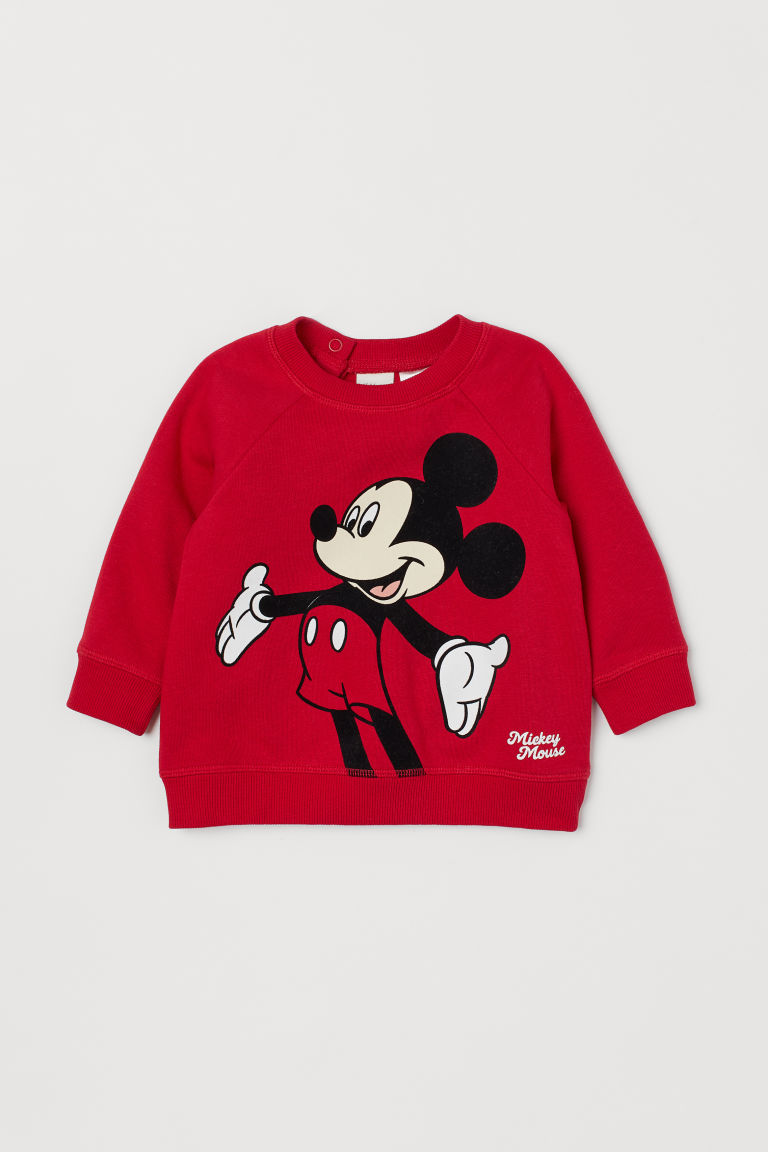 Sweatshirt with Printed Design - Red/Mickey Mouse - Kids | H&M US