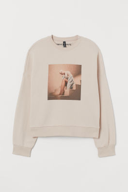 Short printed hooded top - Cream/Ariana Grande - | H&M CN