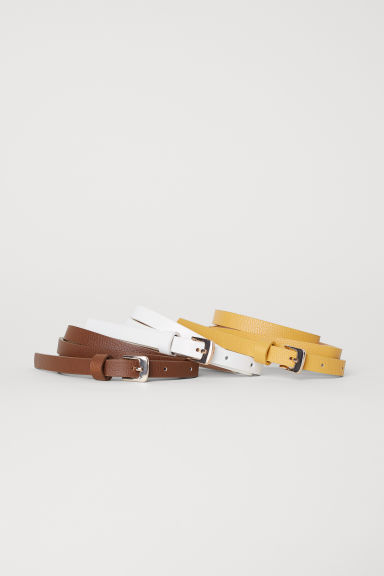 3-pack narrow belts - Mustard yellow/Brown - Ladies | H&M