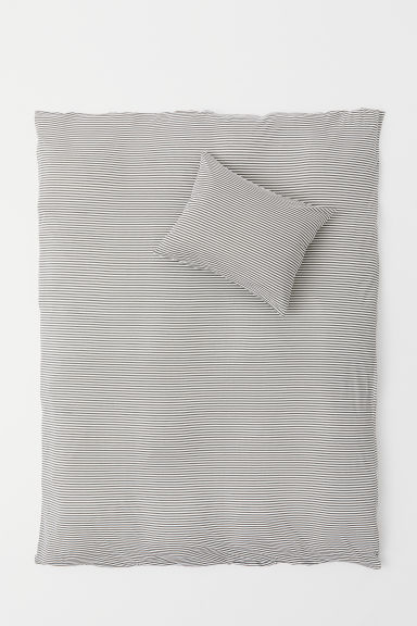 Jersey duvet cover set - Grey/White striped - Home All | H&M GB