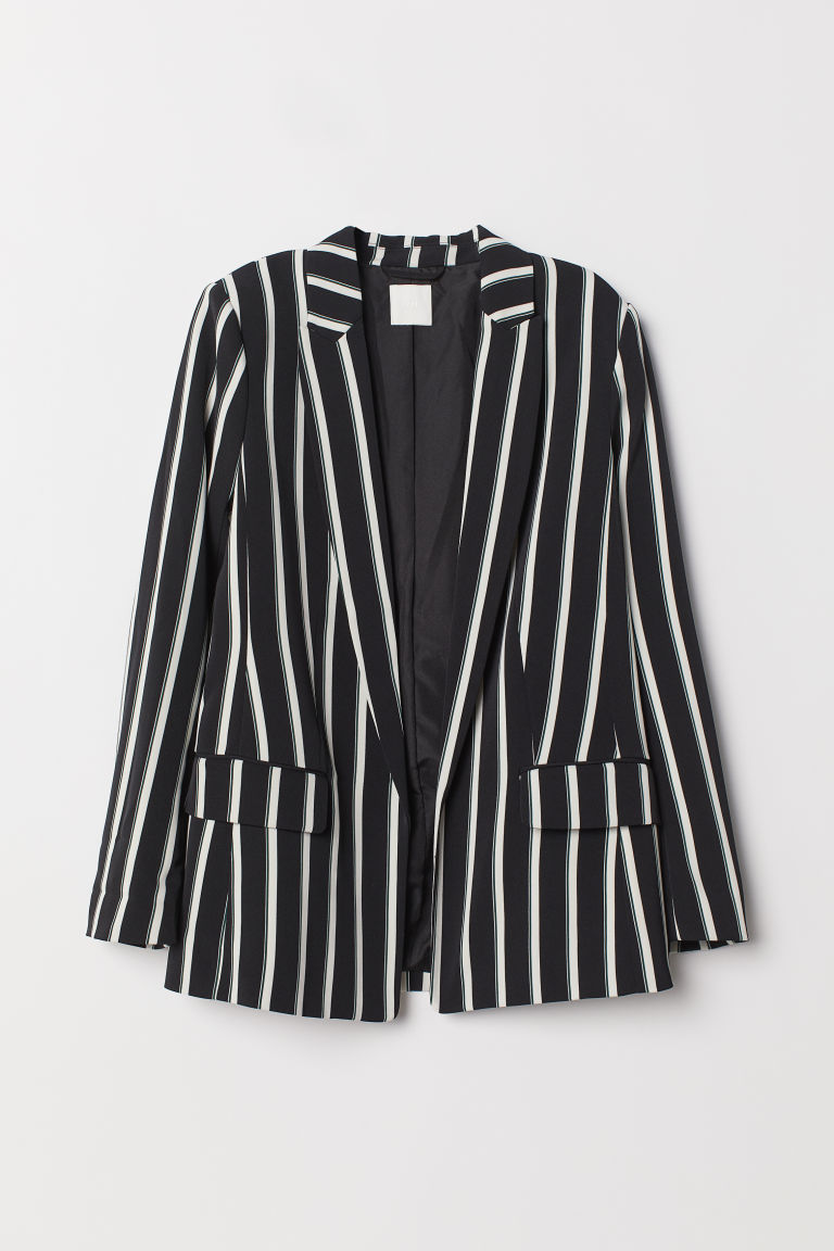 Straight-cut jacket - Black/White striped -  | H&M IE