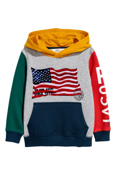 Sweat-shirt à capuche - Gris/color block - ENFANT | H&M BE